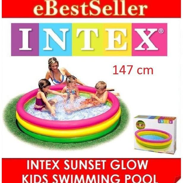 INTEX Kolam Renang #56441 Pompa Anak Besar | Sunset Glow 4 Ring Rainbow Pool | 56441NP | Shopee Indonesia