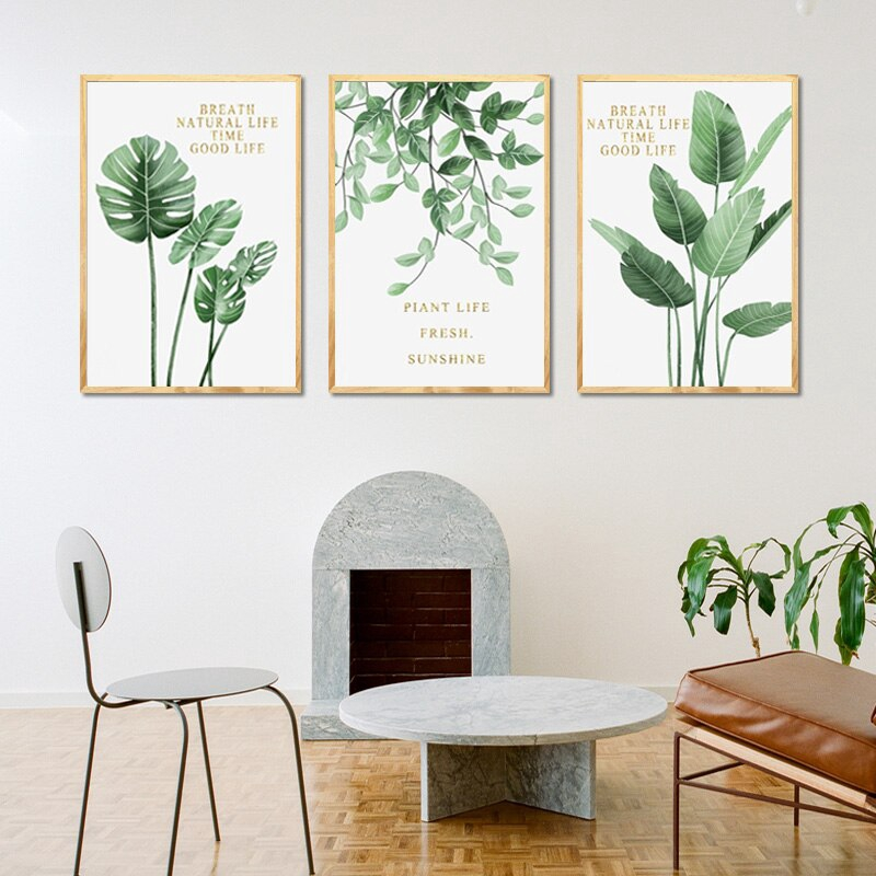 Nordic Tropical Palm Banana Leaf Wall Art Canvas Posters Prints Green Plant Canvas Painting Wall Pictures For Living Room Unframed Shopee Indonesia