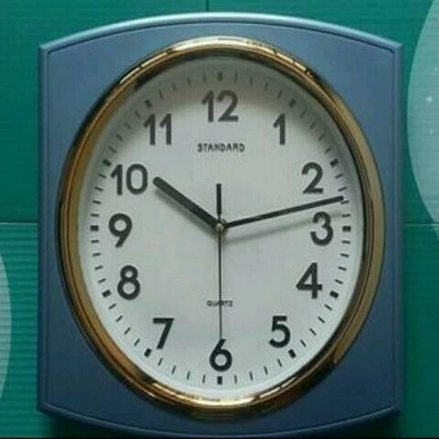 Jam Dinding Standard Quartz Clock Kotak Oval List Gold  a68f49c861