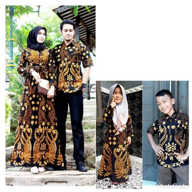 Baju Batik Couple Gamis Keluarga Anak Muda Modis Model Kombinasi Terbaru Full Batik