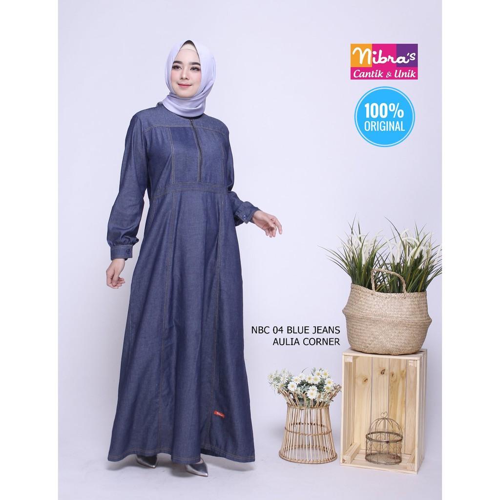 Model Sederhana Gamis Nibras NBC 10 Blue Jeans ORIGINAL Foto Gamis Wanita  Gemuk