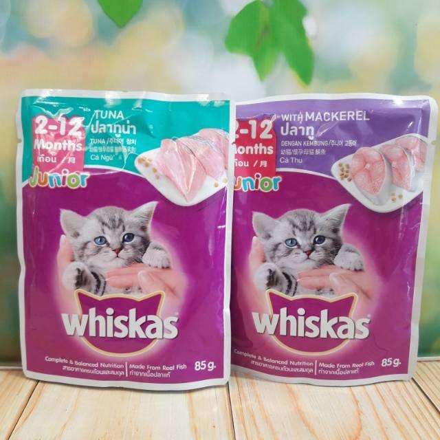 Whiskas Junior Pouch Wet 85 Gr Mackerel Tuna Makanan Basah Anak