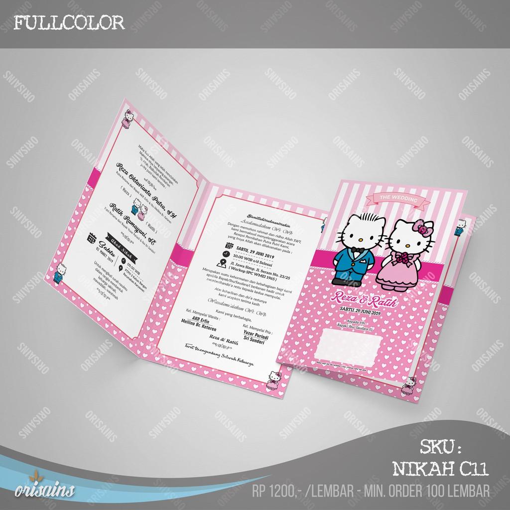 Undangan Pernikahan Hello Kitty Pink Fullcolor Nikah Unik Murah Kekinian Min Order 100 Lembar
