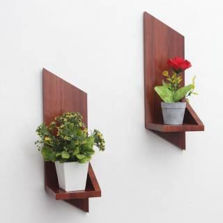 rak bunga unik hiasan dinding dari kayu model jajar