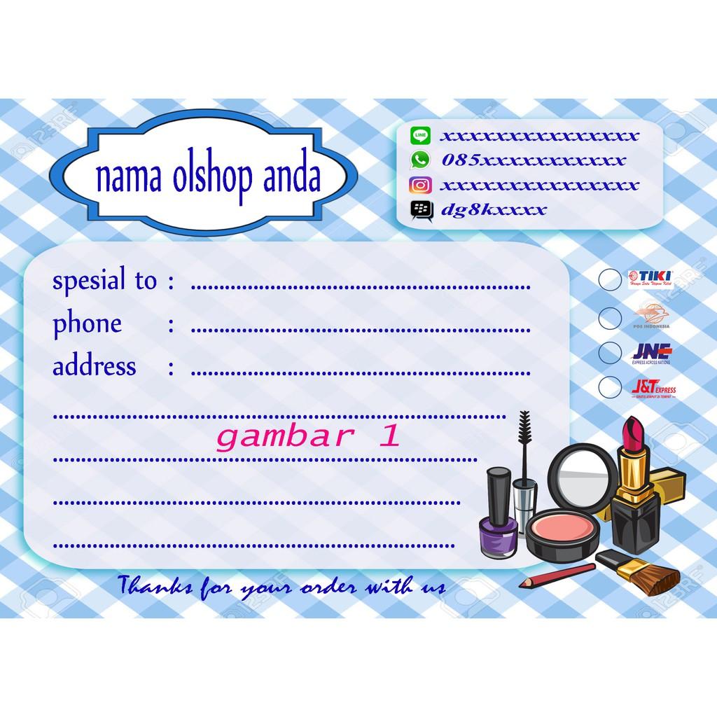 Label Pengiriman Sticker Online Shop Karakter Kosmetik