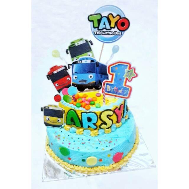 Cake Kue Tart Ultah Tayo Buttercream Mix Fondant 2 Tier