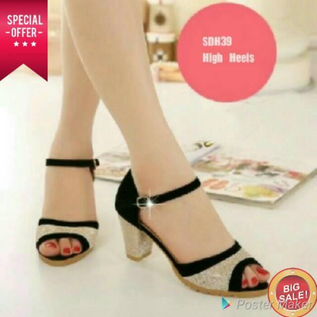 High Heels Hak Tahu MA02 Tan Tali Coklat Sepatu Hak Tinggi Wanita Cewek Sendal Sandal Heels