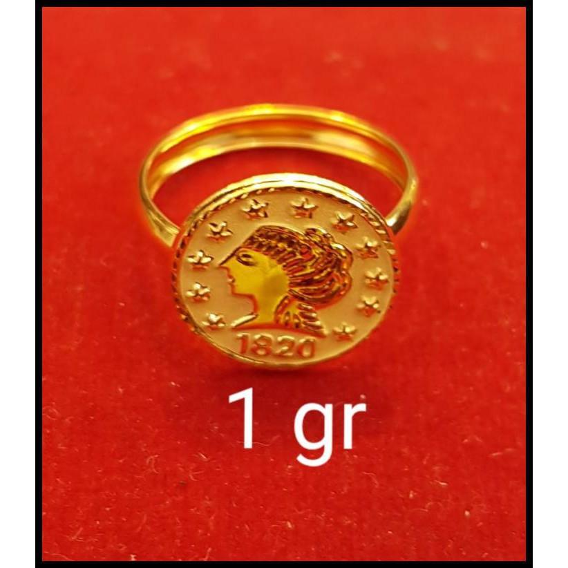 Cincin Emas Asli Model Koin Uang Pawon Kadar 700 70% 18K 22 2Gram 10 - 0,5Gram