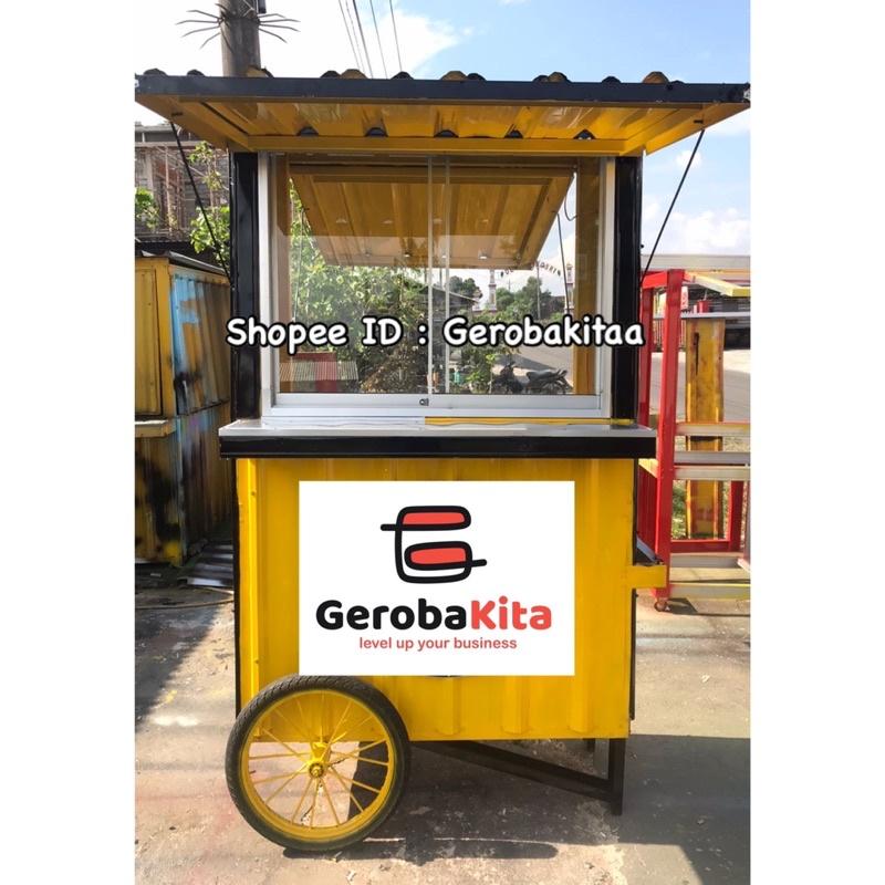Booth Semi Container Roda Dorong & Kaca / gerobak dorong / booth kontainer roda