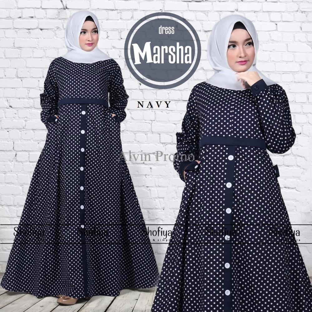 PROMO Baju Gamis Katun Jepang Polkadot Modern Muslim Wanita Longdress  MARSHA TERLARIS