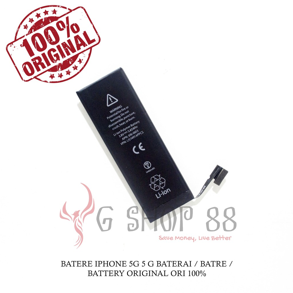 BATERAI IPHONE 5G / 5 G ORIGINAL 100% OEM BATRE BATTERY | Shopee Indonesia