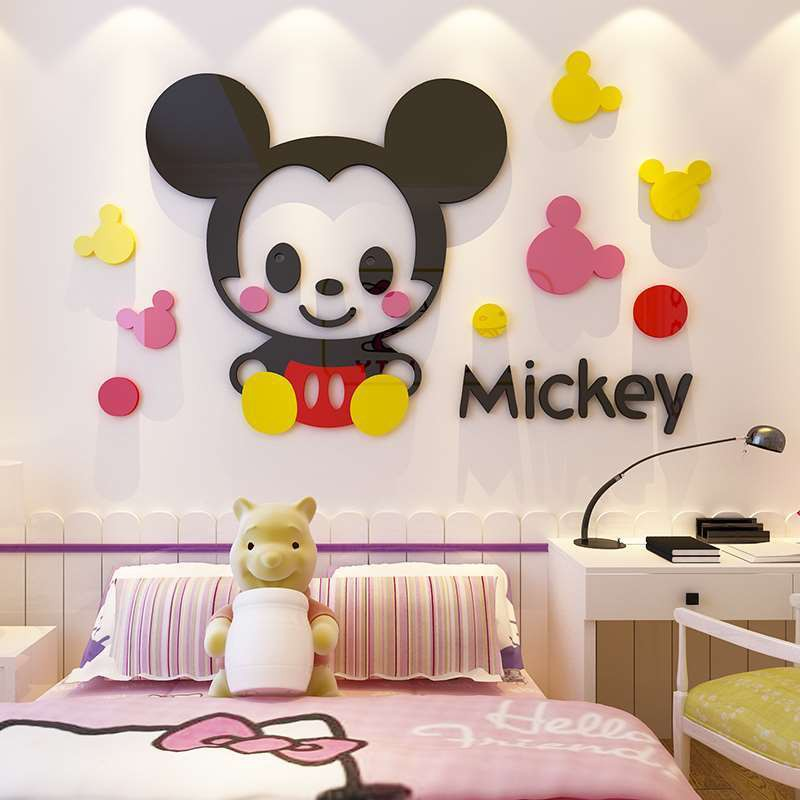 Stiker Dinding Desain Kartun Mickey Mouse 3d Untuk Dekorasi Kamar Tidur Shopee Indonesia