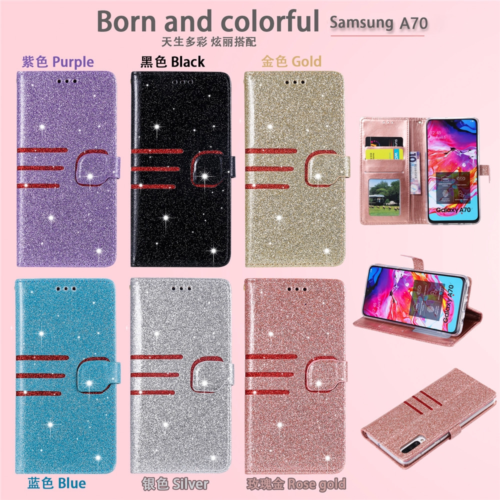 Casing Model Dompet Lipat Bahan Kulit PU Efek Glitter untuk Samsung A70 / A50 / a40 / A10 / S7