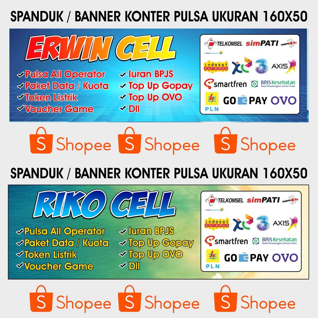 Spanduk / Banner / Backdrop Konter Pulsa 160X50   Shopee Indonesia