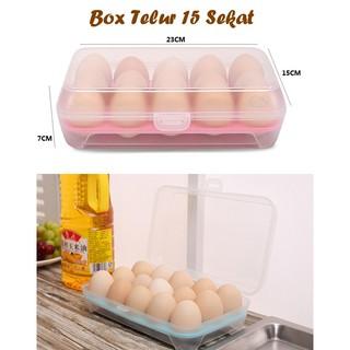 Egg Box Kotak Telur Isi 15 Sekat Jumbo Besar Kulkas Organizer Storage Telor .