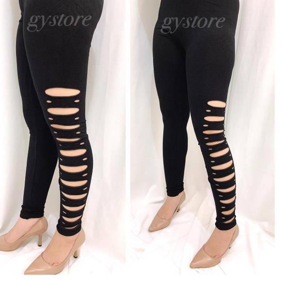 Menarik Premium Celana Legging Wanita Bolong Bulat Samping Ggi4 Shopee Indonesia