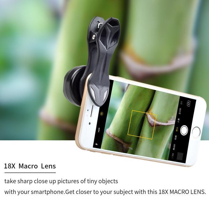 Bisa Cod Photography Mobile Phone Lensa Makro Apexel Clip On Hd 18x Macro Lens Diskon Kode Shopee Indonesia