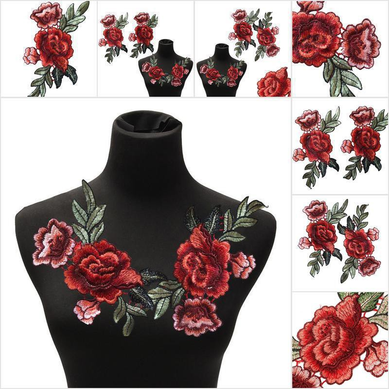2Pcs//Set Rose Flower Patch Floral Embroidered Applique Patches Sew on For DIY TO