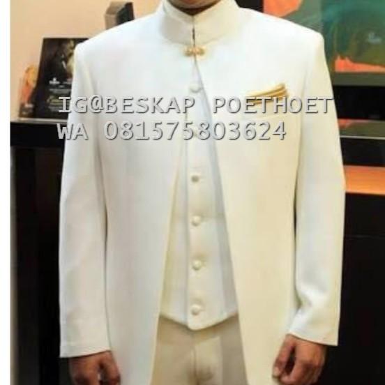 Beskap Putih Tulang Beskap Pria Dewasa Pagar Bagus Baju Mc Modern Jas Putih Akad Nikah