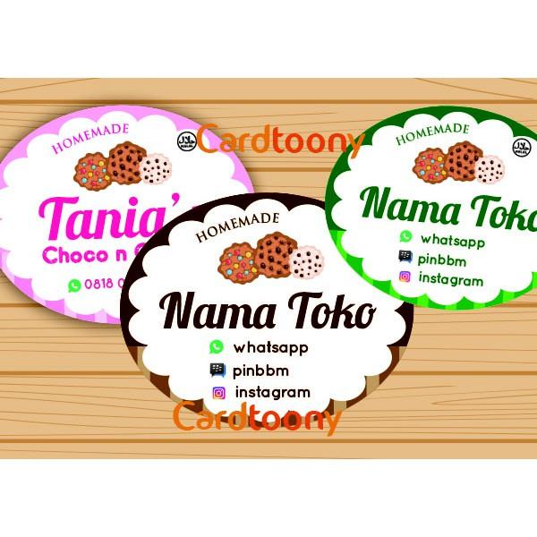Sticker Stiker Label Nama Toko Produk Cookies Makanan Manis