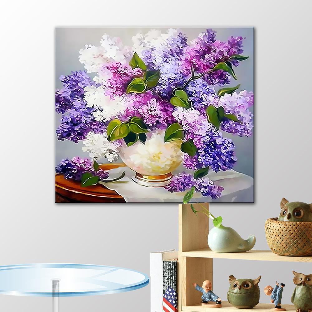 DIY Lukisan Kanvas Cat Minyak Digital Dengan Mewarnai Angka Tanpa Bingkai Gambar Lavender