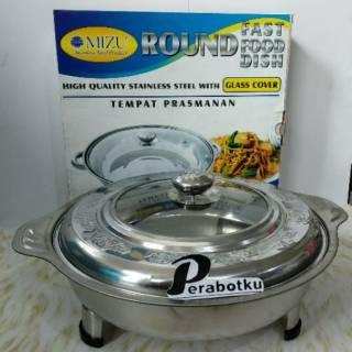 FAST FOOD 555 Bulat Round Wadah tempat saji Prasmanan Tutup Kaca 30cm