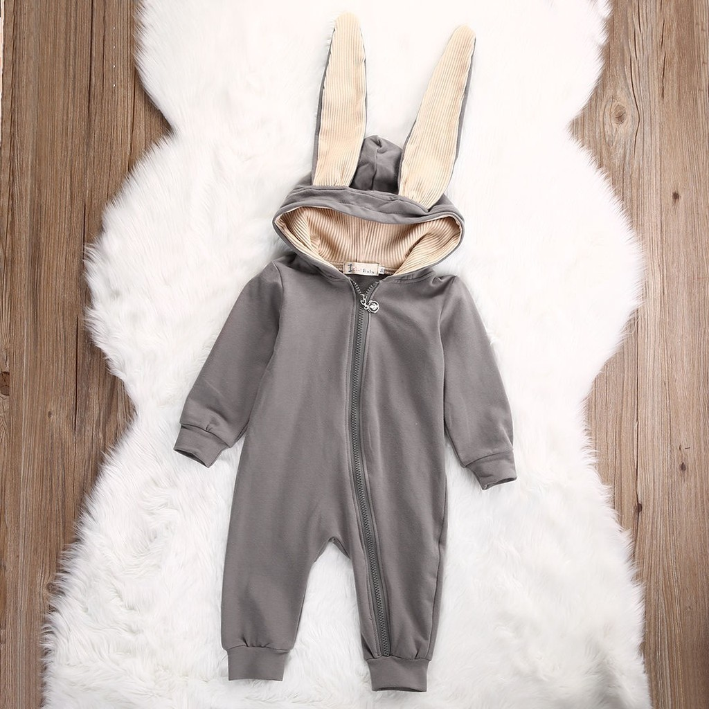 BURFLY Infant Baby Girls Boys Long Sleeve Solid Hooded Bodysuit Romper Toddler Button Jumpsuit Children Outfits Clothes