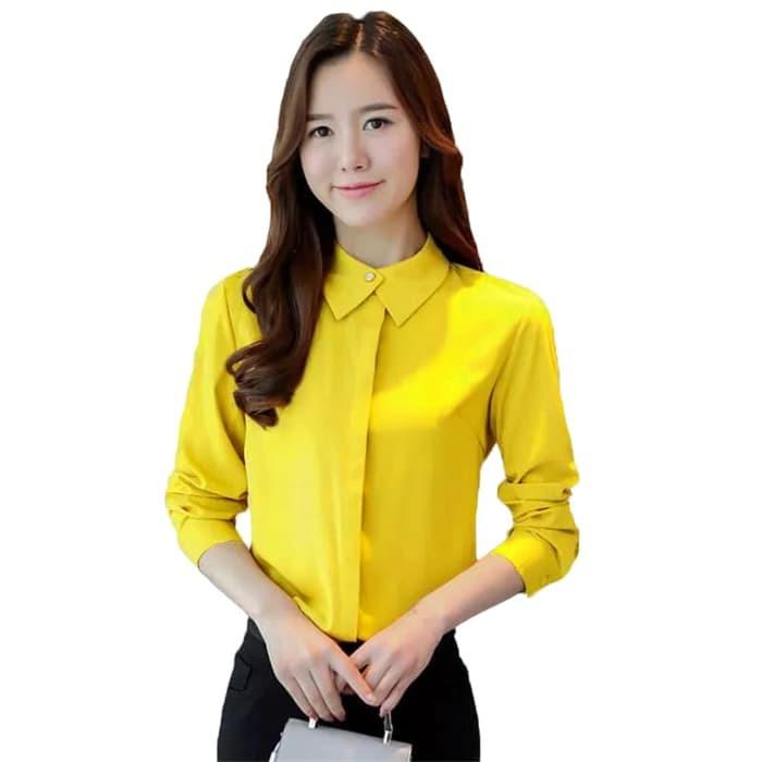 IRIANA Okechuku Kemeja Wanita Pakaian Kerja Kantor Murah Gaya Korea