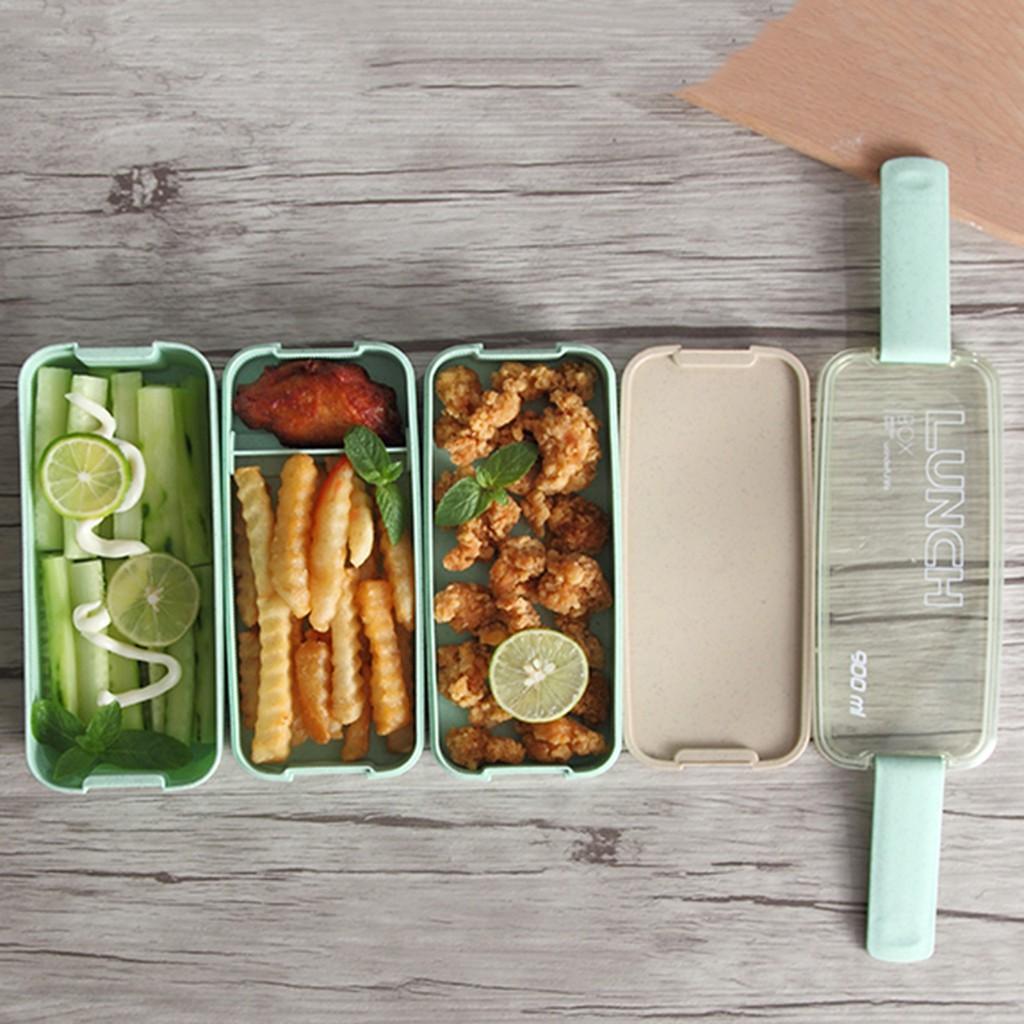Kotak Makan Siang Anti Bocor Wadah Makanan Microwave Jerami Gandum 3 lapisan Kotak Bento 9