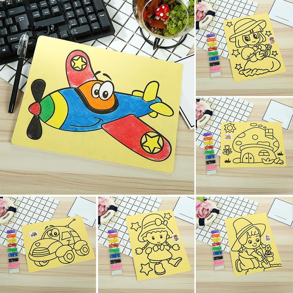 5Pcs Set Mainan Edukasi Mewarnai Gambar Pakai Pasir Warna Warni Untuk Pekerjaan Tangan Anak Sekolah