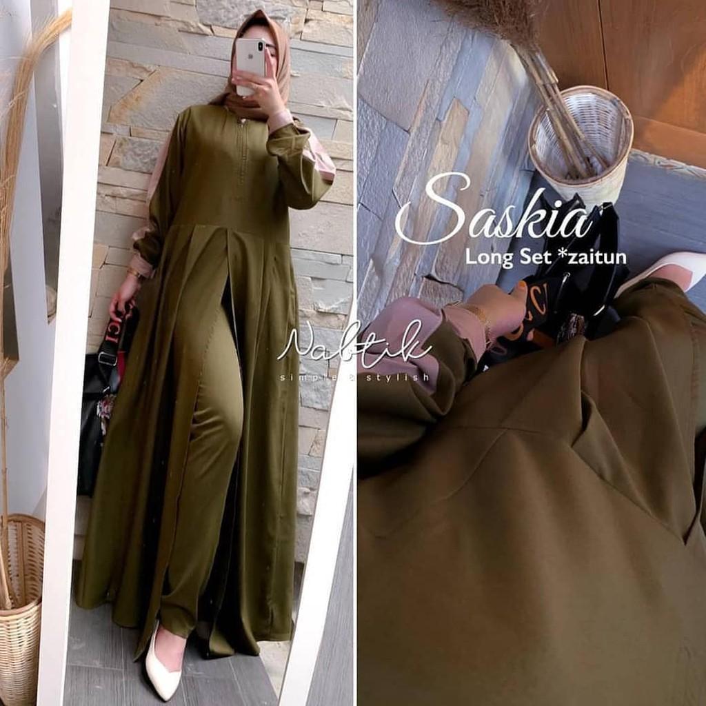 Saskia Long Set / Gaun Pesta / Gamis Brukat / Baju Pesta Terbaru / Baju  Gamis Wanita / Baju Gamis