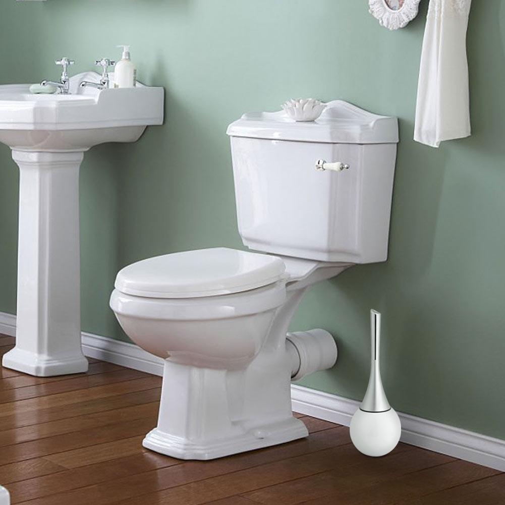 Set Sikat Pembersih Toilet Kamar Mandi dengan Dasar Stainless Steel