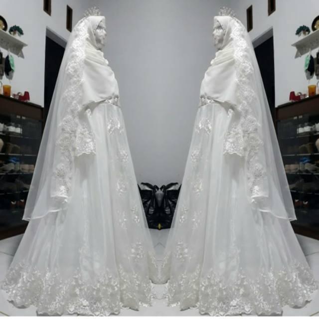 Gaun Pengantin Muslimah Syari Walimah Akad Muslimah Wedding Dress Muslimah Shopee Indonesia
