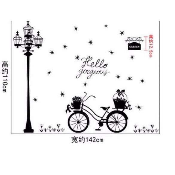 Bk Stiker Dinding Wallpaper 60x90cm Motif Karakter Sepeda Lampu Taman Hitam Putih Dekorasi Cantik Shopee Indonesia