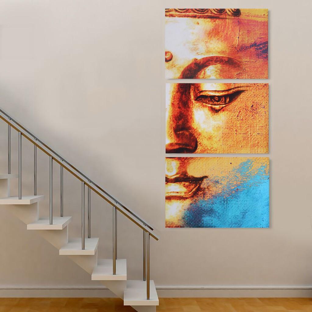 3Pcs Lukisan Dengan Bahan Kanvas Tanpa Bingkai Dan Gambar Patung Buddha Untuk Dekorasi Rumah