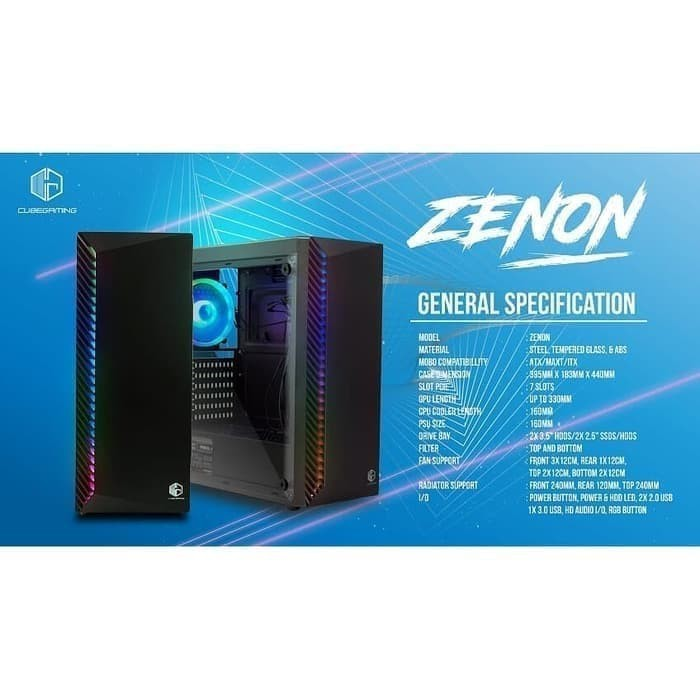 Cube Gaming Zenon Atx Side Tempered Glass Psu Cover Free 1 Pcs Autoflow Rainbow Rgb Fan Shopee Indonesia
