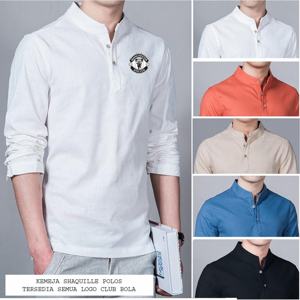 Baju Koko Shaquille Putih Logo MU Bahan Cotton Adem Saat Dipakai PROMO Tersedia Juga Semua Logo | Shopee Indonesia