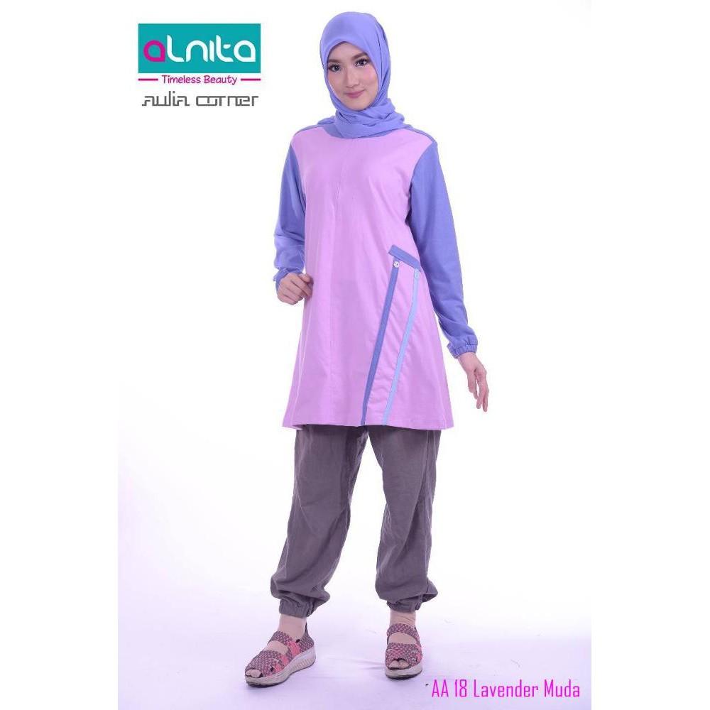 Atasan Muslim Alnita AA 18 Lavender Baju Atasan Wanita Terbaru Baju Muslim Wanita | Shopee Indonesia