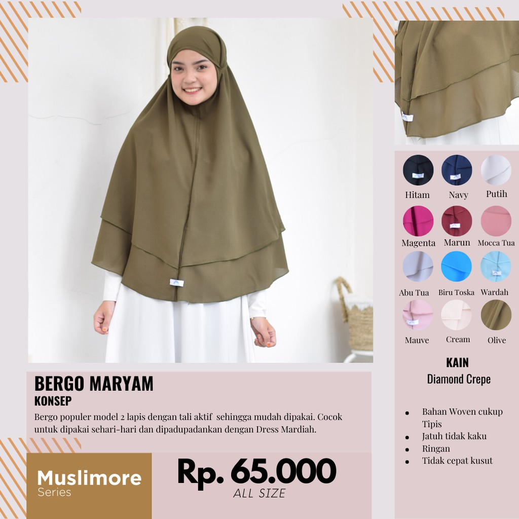 Muslimore Khimar 2 Layer Daily Hijab Bergo Kerudung Non Pet Jilbab Tali Aktif Diamond Crepe Syari Shopee Indonesia