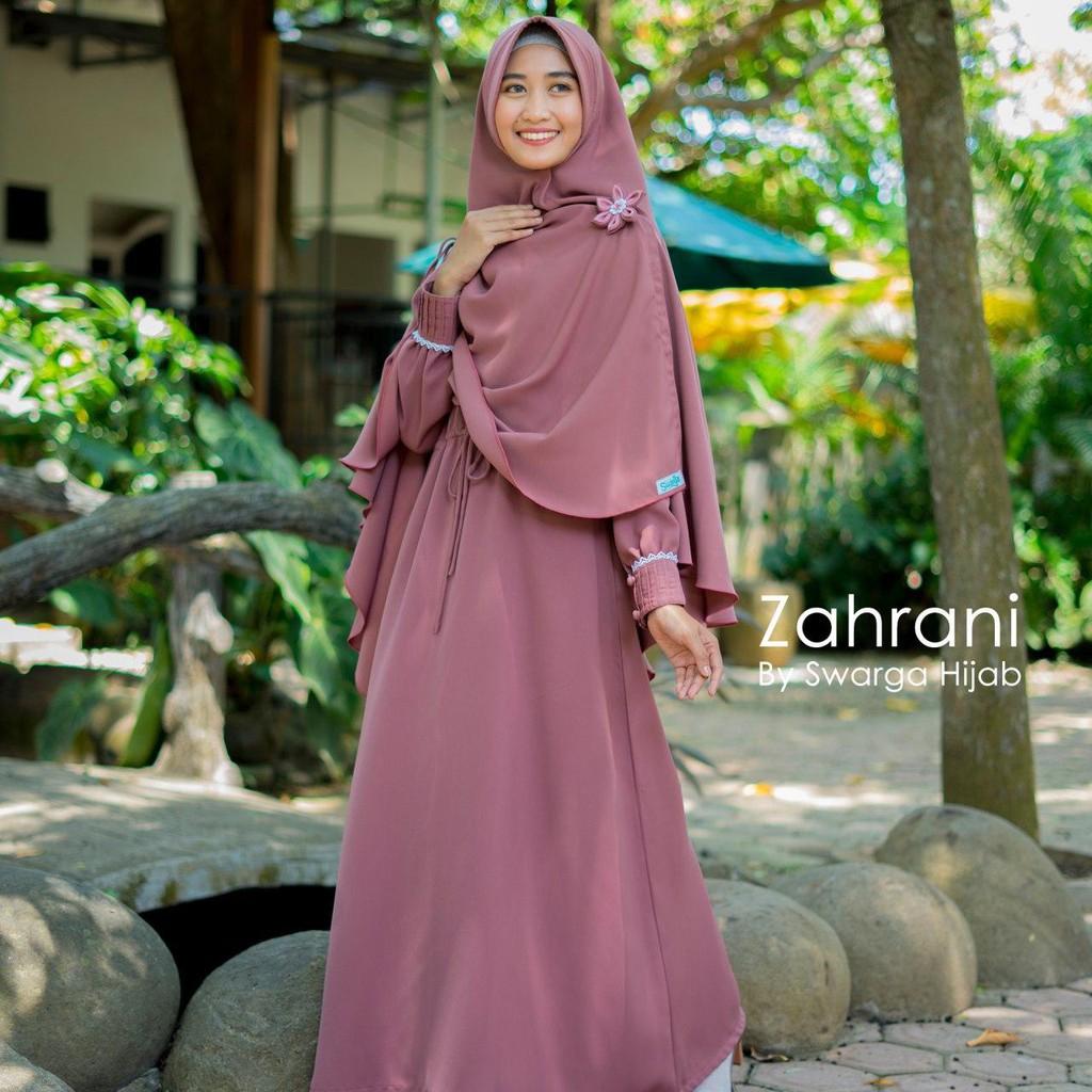 Gamis Zahrani Set Syari By Swarga Hijab Original Gamis Terbaru Busana Muslimah Grosir Gamis Shopee Indonesia