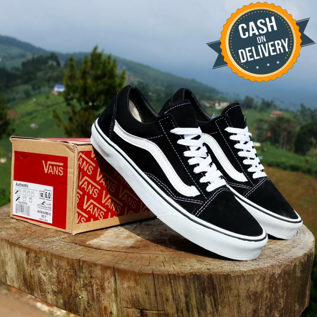 Sepatu Vans Wanita Oldskool Black White Premium Import Tag China
