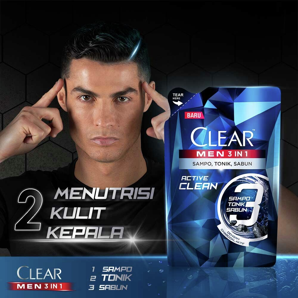 Clear Men 3-In-1 Shampo Active Clean Bottle 280ml-4