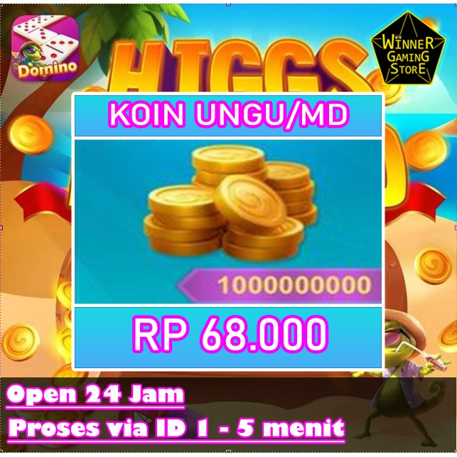 Top Up Koin Higgs Domino Island - Chip MD Higgs Domino Termurah - Koin Higgs Domino Ungu