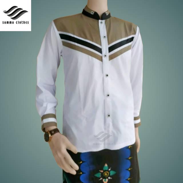 Koko Baju Koko Motif Sudut Dada Coklat Seragam Hadroh Baju Hadroh Baju Gus Azmi Baju Koko Gus Azmi Shopee Indonesia
