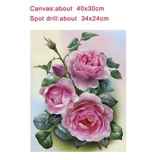 diy lukisan diamond 5d dengan gambar bunga mawar warna