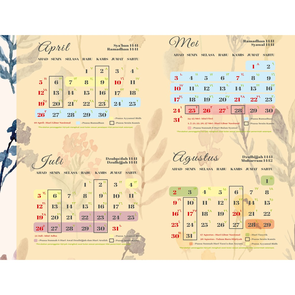 Kalender Indonesia 2020: Kalender 2020 Puasa Ayyamul Bidh