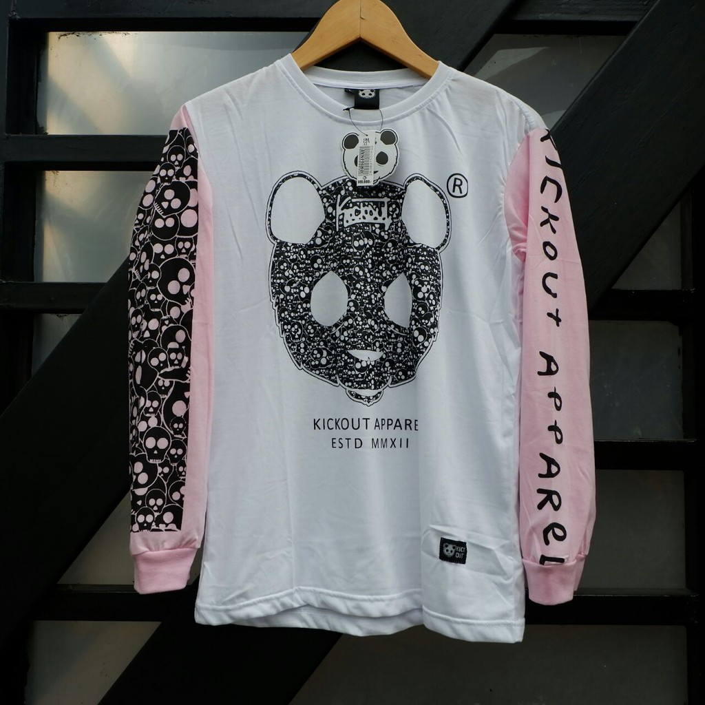 Kaos Distro Kickout Panda Putih Pink Hitam/ Kaos Lengan Panjang Wanita   Shopee Indonesia