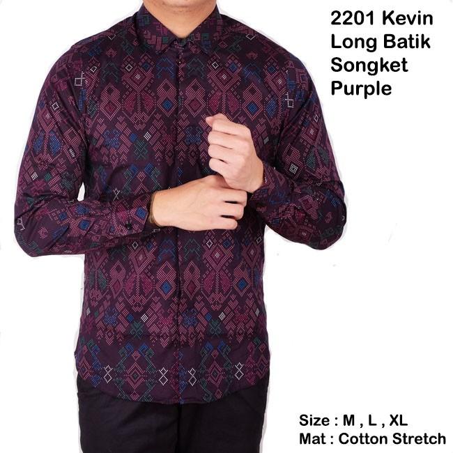Kemeja batik lengan panjang baju batik songket pria slimfit  7ba8b057b6