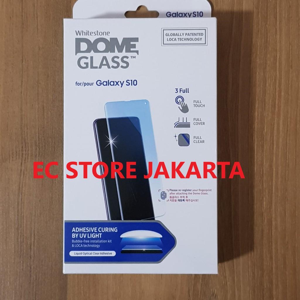 ORIGINAL WHITESTONE DOME FULL ADHESIVE TEMPERED GLASS GALAXY S10   Shopee Indonesia