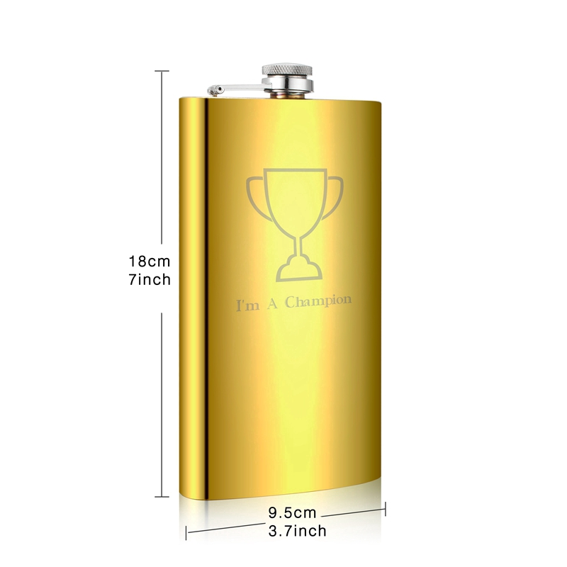 New Hip Flask 12oz Matt Black Flasks Stainless Steel for Liquor with Funnel